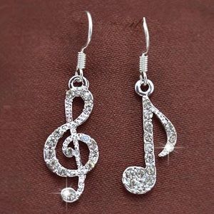Silver Rhinestone Musical Note Earrings
